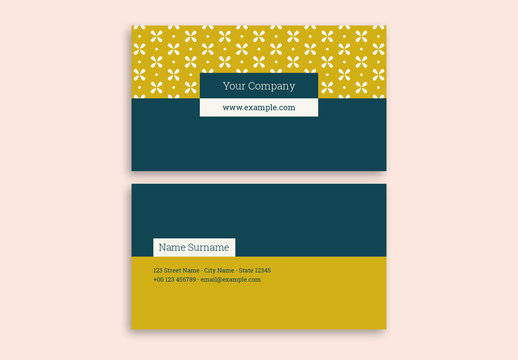 Business Card with a Floral Pattern and Two-Tone Layout