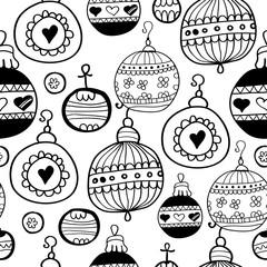Christmas balls pattern black seamless pattern
