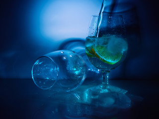 glasses of water and lemon
