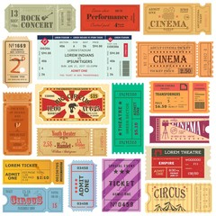 Set of old isolated tickets for cinema or theater
