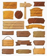 Obraz Set of isolated pointers signs or wooden planks - fototapety do salonu