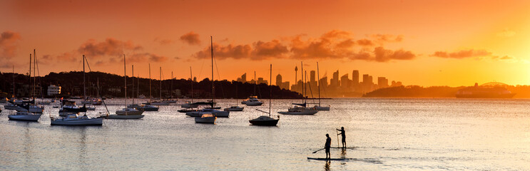 Panoramic view with paddleboarders and sailboats at sunset at Watsons Bay, Sydney, New South Wales, Australia