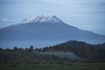 View of Iztaccihuatl volcano in Tlaxcala, Mexico