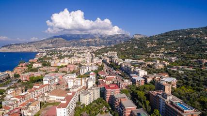 Aerial view of Sorrento city, Meta, Piano coast, Italy, street of mountains old city, tourism concept
