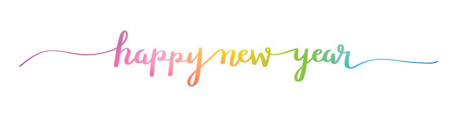 HAPPY NEW YEAR brush calligraphy banner