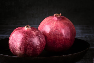 Pomegranate fruit grain red Still life rural rustic style