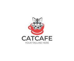 Cat in the Cup Logo Template. Animal Vector Design. Pet Illustration