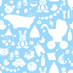 Seamless pattern with baby accessories. Suitable for wrapping, wallpaper or textile