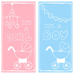 Two baby shower invitation with stroller, beanbag,  lettering it is a boy and girl. Hand drawing style.