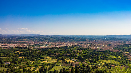Top view of  of Florence, Italy  . Aerial view to Florence city