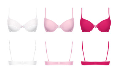 Realistic push-up bras vector illustration isolated on background, front and back view. Set of three models in different colors, white with lace, pink and magenta. Woman lingerie, templates for mockup