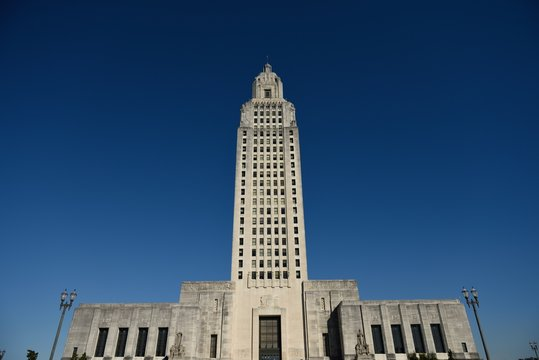 Louisiana State Capitol Building with clear blue cloudless sky, downtown Baton Rouge
