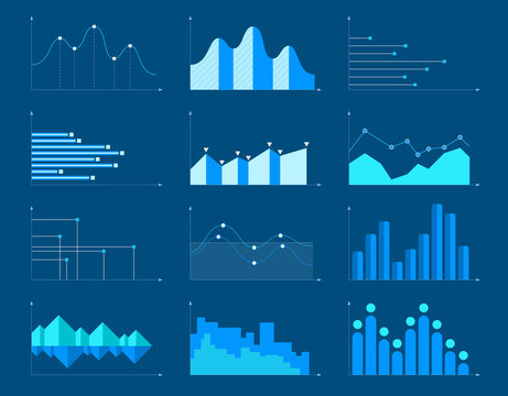 Business charts and graphs infographic elements vector illustration.