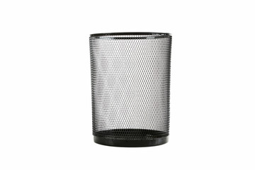 Black paper trashcan isolated on a white