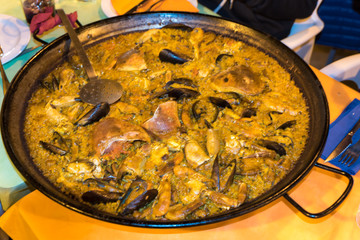 Paella Valenciana with seafood