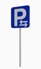 Deutsches Verkehrsschild: Parken in Pfeilrichtung (rechts und links) erlaubt, auf weiß isoliert.