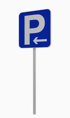 Deutsches Verkehrsschild: Parken in pfeilrichtung (links) erlaubt, auf weiß isoliert.