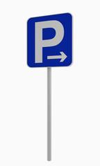 Deutsches Verkehrsschild: Parken in pfeilrichtung (rechts) erlaubt, auf weiß isoliert.