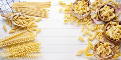 Pasta: pens, shells, rigatoni, fusilli, linguine, and squid