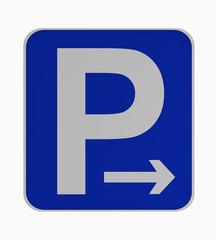 Deutsches Verkehrsschild: Parken rechts erlaubt, auf weiß isoliert.