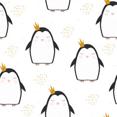 Cute penguin princess with golden brush elements seamless pattern. Vector hand drawn illustration.