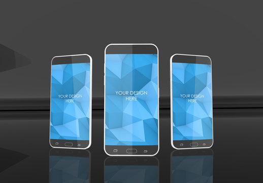 3 Screen Smartphone MockUp