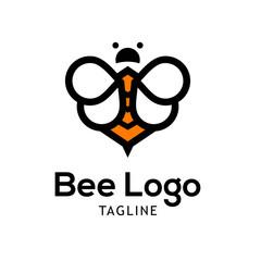 Bee logo template design Vector