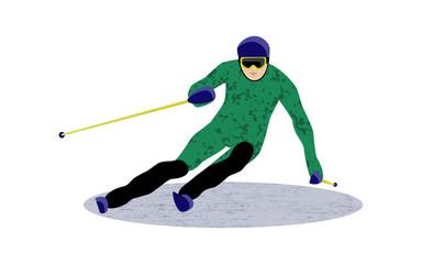 Sport downhill skiing slalom, vector