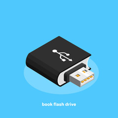 flash drive in the form of a book on a blue background, isometric image