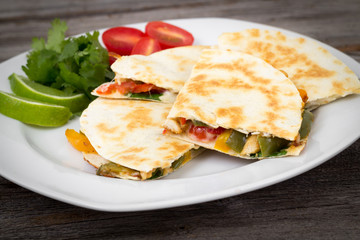 Chicken quesadilla dish
