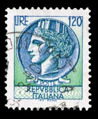 Italy postage stamp 120 Lire Turrita serie
