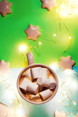 Poster de jardin Chocolat hot coffee with marshmallows. New Year's Day. holidays. biscuits with white glaze