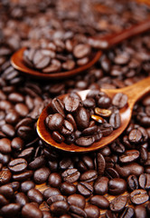 A wood spoon with roasted coffee. Coffee Beans Background. Close Up.