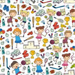 Boys and girls playing sports illustration Fitness, football, soccer, yoga, tennis, basketball, hockey, volleyball