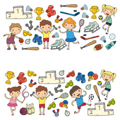 Boys and girls playing sports illustration Fitness, football, soccer, yoga, tennis, basketball, hockey, volleyball