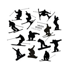 Set collection of black alpine skier s and snowboarders silhouettes isolated on white background.