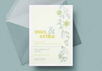 Hochzeitseinladung mit Blumen in Zitronengelb
