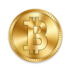 Creative vector illustration of 3d golden bitcoin coin isolated on background. Art design digital currency, cryptocurrency. Stock market electronic money. Blockchain, ico, fintech net banking element