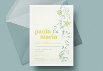 Invito nuziale floreale color limone
