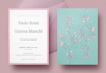 Invito nuziale floreale color ottanio e roseo