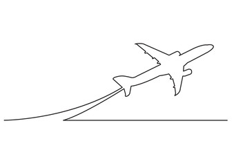 one line drawing of isolated vector object - passenger airplane