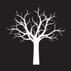 White shape of Tree on black background. Vector Illustration.