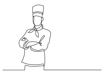 continuous line drawing of confident chef standing