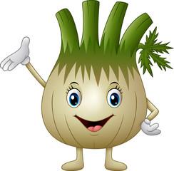 Cartoon fennel waving hand