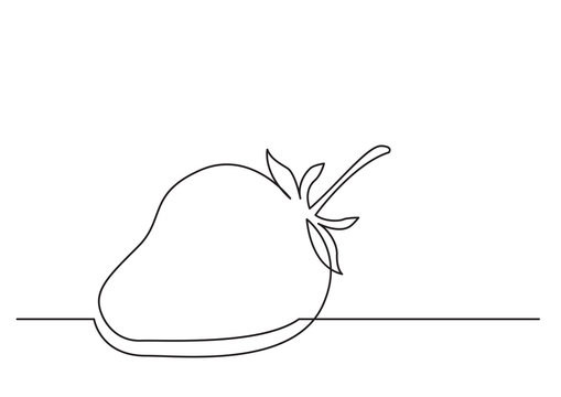 one line drawing of isolated vector object - strawberry