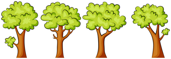 Set of green trees on a white background