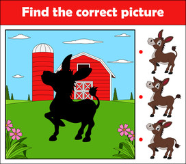 Find the correct picture, education game for children. Happy donkey in the farm