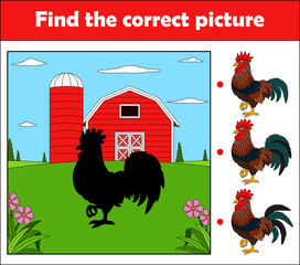 Find the correct picture, education game for children. Rooster in the farm