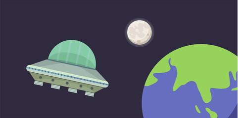 ufo spaceship vector illustration in cartoon style