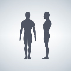 Vector illustration of man s figure. Silhouettes. Front or back, side views